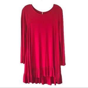 Mittoshop red ruffle long sleeve jersey tunic top